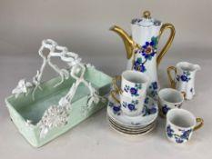 A Frank Haviland Limoges Paris part coffee set, comprising coffee pot, four cups, five saucers and a