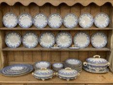 An extensive Royal Worcester Vitreous porcelain part dinner service, with blue floral design,