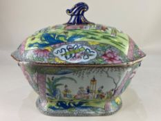 A 19th century Masons Ironstone China tureen and cover, decorated in the Chinese style with scenes
