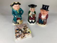 A Burlington ware pottery musical toby jug, together with a Crown Devon musical toby jug and a