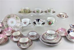 A New Hall porcelain dish, tea cup and saucer, and coffee cup and saucer, decorated with flowers