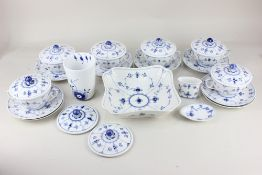 A Royal Copenhagen porcelain blue and white part dinner service, to include six soup bowls and eight