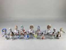 A collection of seventeen porcelain half dolls, tallest 13cm, (some a/f)