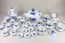 A Royal Copenhagen blue and white porcelain part dinner, tea and coffee service, with floral