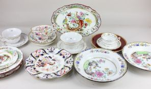A pair of 'Chinese Tree' pattern porcelain tea cups and saucers, possibly Minton, and a collection