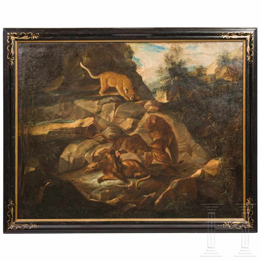 Lot 14 - A German rocky landscape with a pride of lions, circa 1700/20Oil on canvas, re-lined. The resting