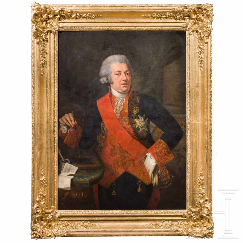 Lot 29 - An Italian portrait of a nobleman, end of the 18th centuryOil on canvas. Three-quarter length