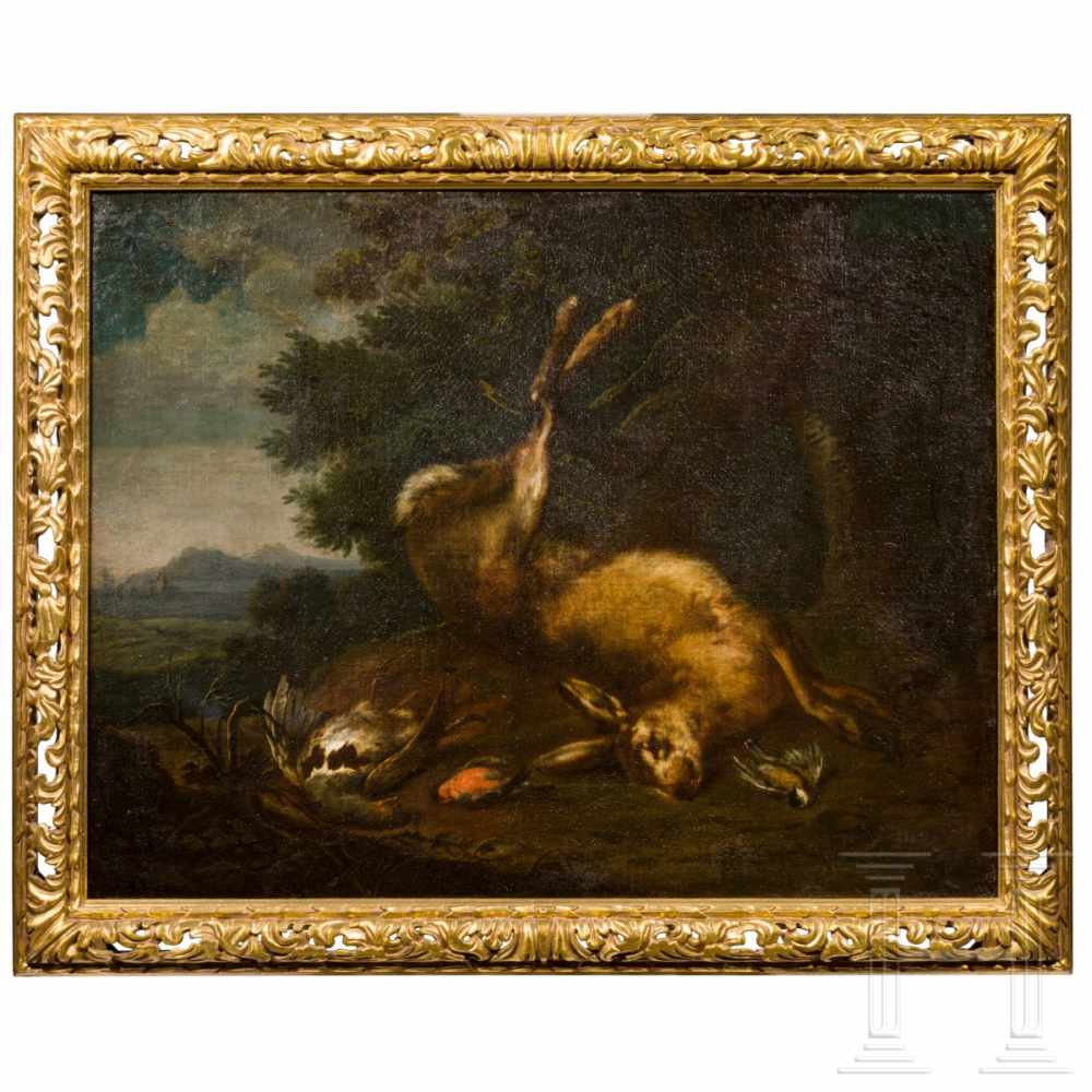 Lot 19 - A southern German still life with hare and partridge, monogrammed, early 18th century Öl auf