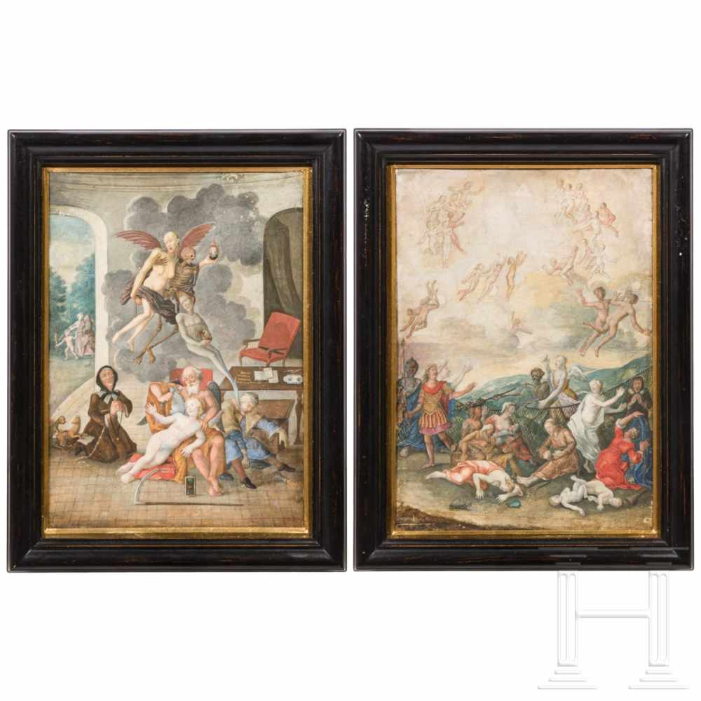 Lot 18 - A pair of exceptional South German vanitas representations, early 18th centuryFramed watercolour and