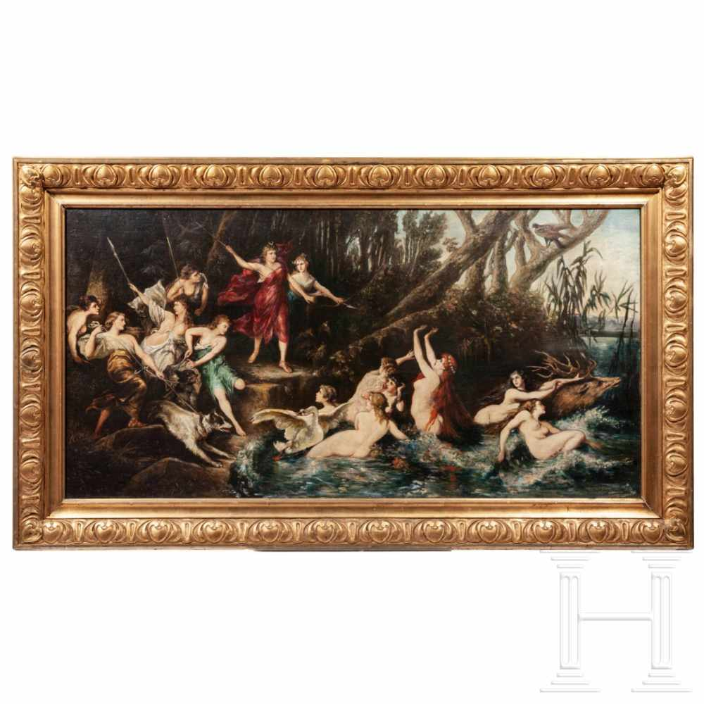 "Lot 47 - ""The hunt of Diana"", after Hans Makart, circa 1870/80Großformatiges Gemälde, Öl auf Leinwand,"