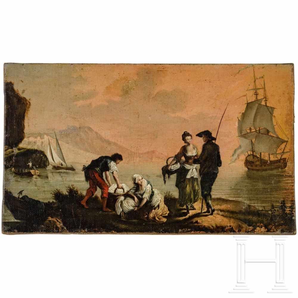 "Lot 25 - ""Washerwomen at the lake"", France or Italy, 18th centuryÖl auf Leinwand. Genreszene, links im"