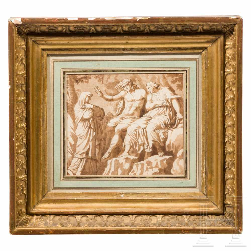 Lot 24 - A fine Italian oldmaster drawing depicting Apoll and Diana, ink on paper, 18th centuryIn