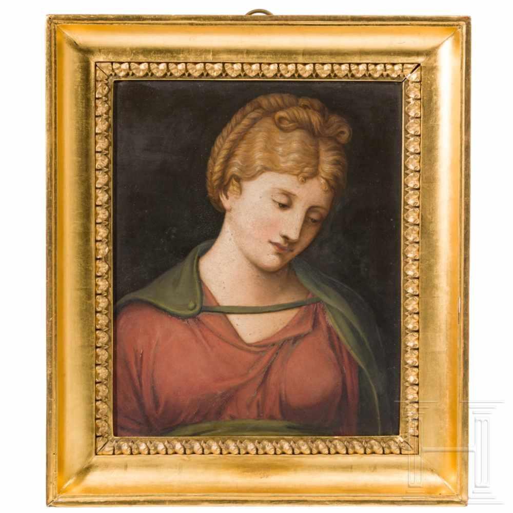 Lot 44 - An European female portrait on stone, 19th centuryÖl auf grau marmoriertem Stein, unsigniert.