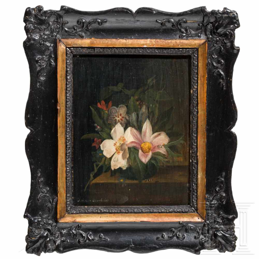 """Lot 28 - A small Viennese still-life of flowers """"Johann Drechsler"""", circa 1780Oilpainting on wood. Still-life"""