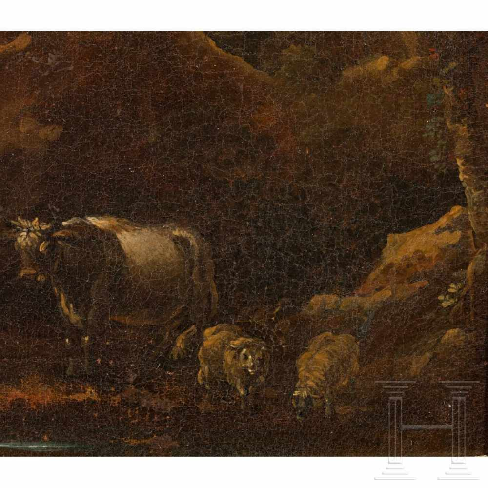 Lot 11 - An oil painting - Herders in rocky Italian landscape, in the manner of Rosa da Tivoli, late 17th
