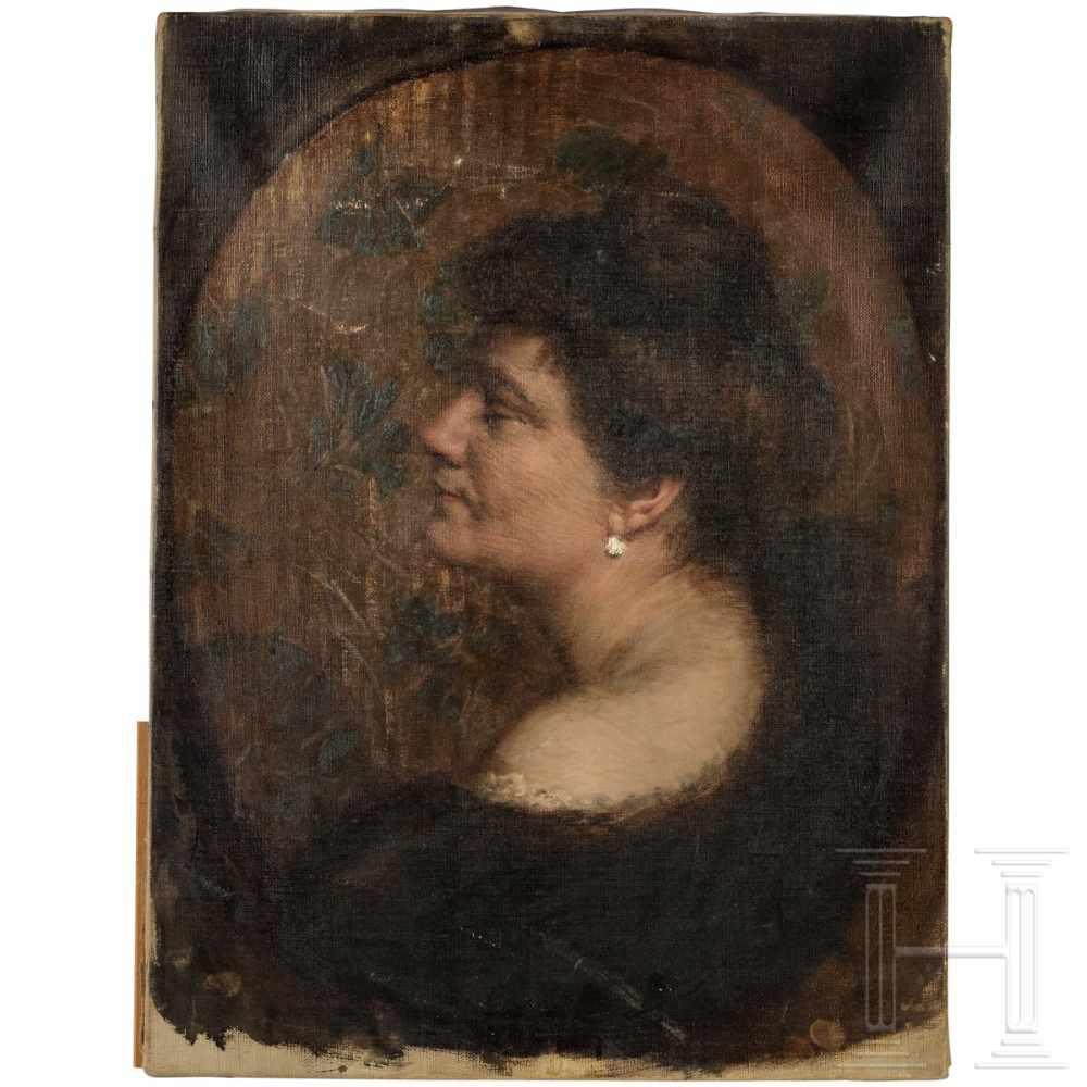 Lot 54 - A lady's portrait, Munich or Vienna, ca. 1910Öl auf Leinwand. Portrait einer Dame mit Diamantohrring