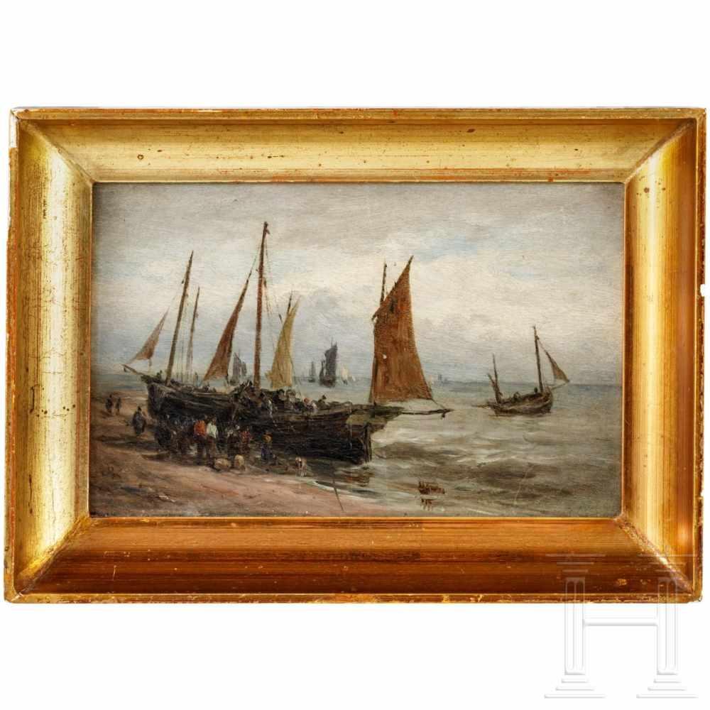 """Lot 50 - """"Fischerboote am Meer"""" - (attrib.) Paul Jean Clays (1819 - 1900)Öl auf Karton. Strandszene mit"""