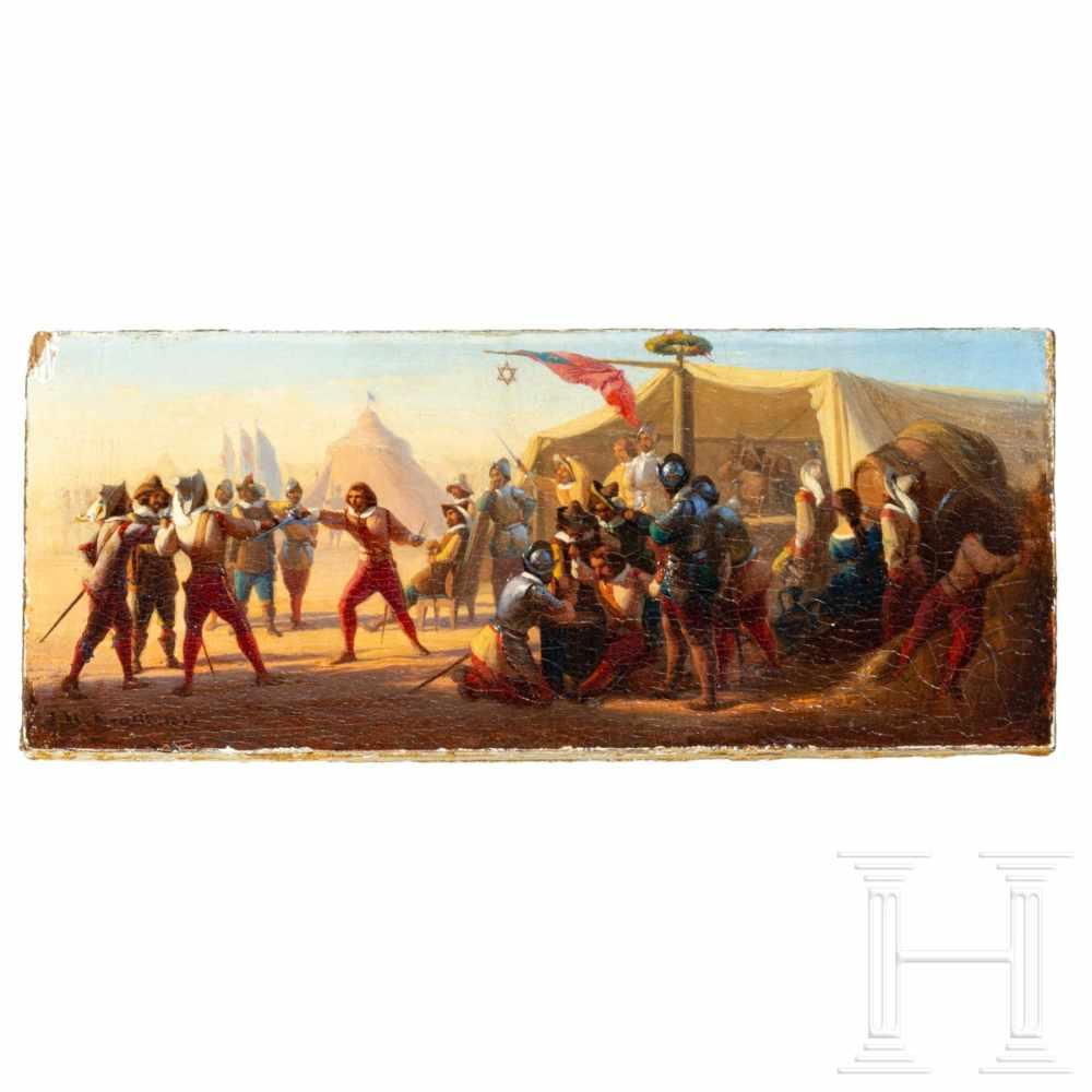 """Lot 39 - Johann Peter Krafft, """"Duelling Landsknechts"""", dated 1840Öl auf Holz. Kleinformatiges Gemälde mit"""