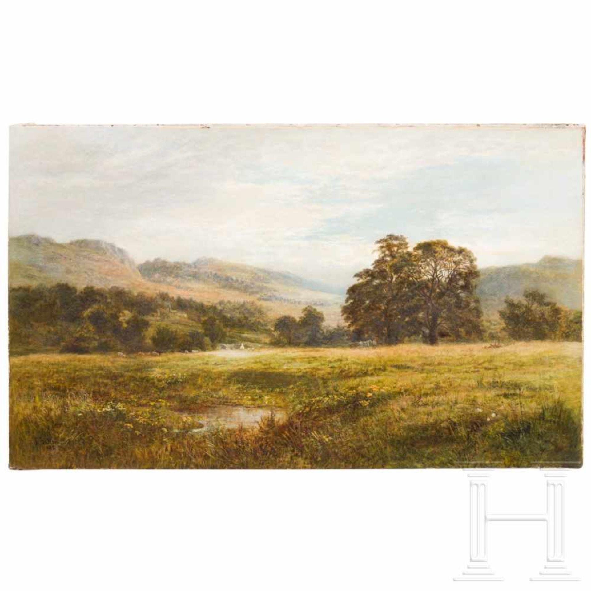 Los 49 - Robert Gallon (1845 – 1925) – an English landscape, dated 1882Öl auf Leinwand. Sumpfiger Talgrund