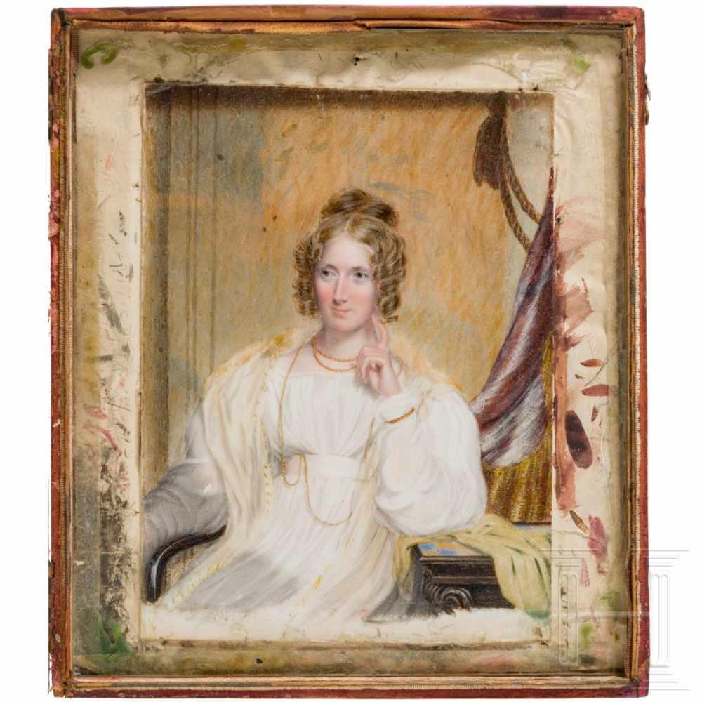 Lot 35 - A portrait-miniature of Annette von Droste-Hülshoff, attr. to Henry Collen (1797 – 1879), circa
