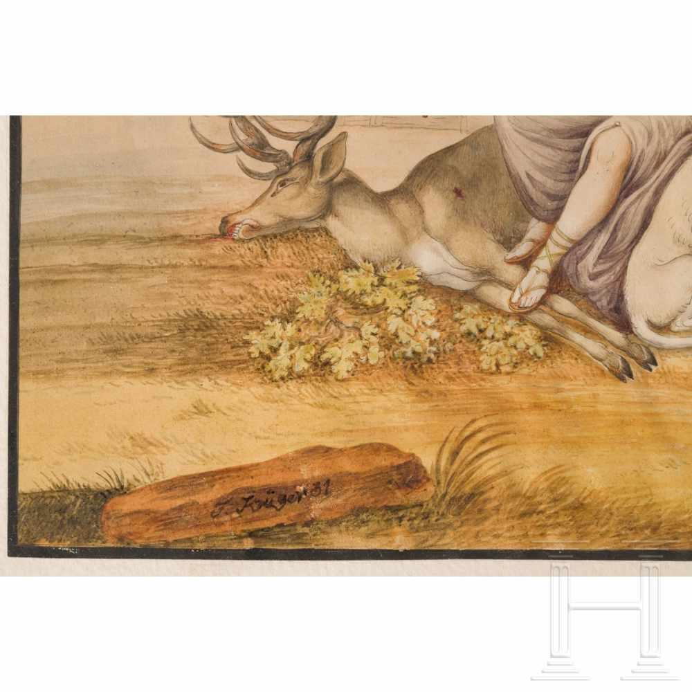 Lot 37 - A gouache with a hunting scene, dated 1831Fein gearbeitete, großformatige, farbig gefasste