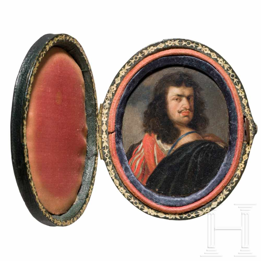 Lot 5 - Gonzales Coques (Antwerp 1614 - 1684), a miniature painting, probably a portrait of the artist Van