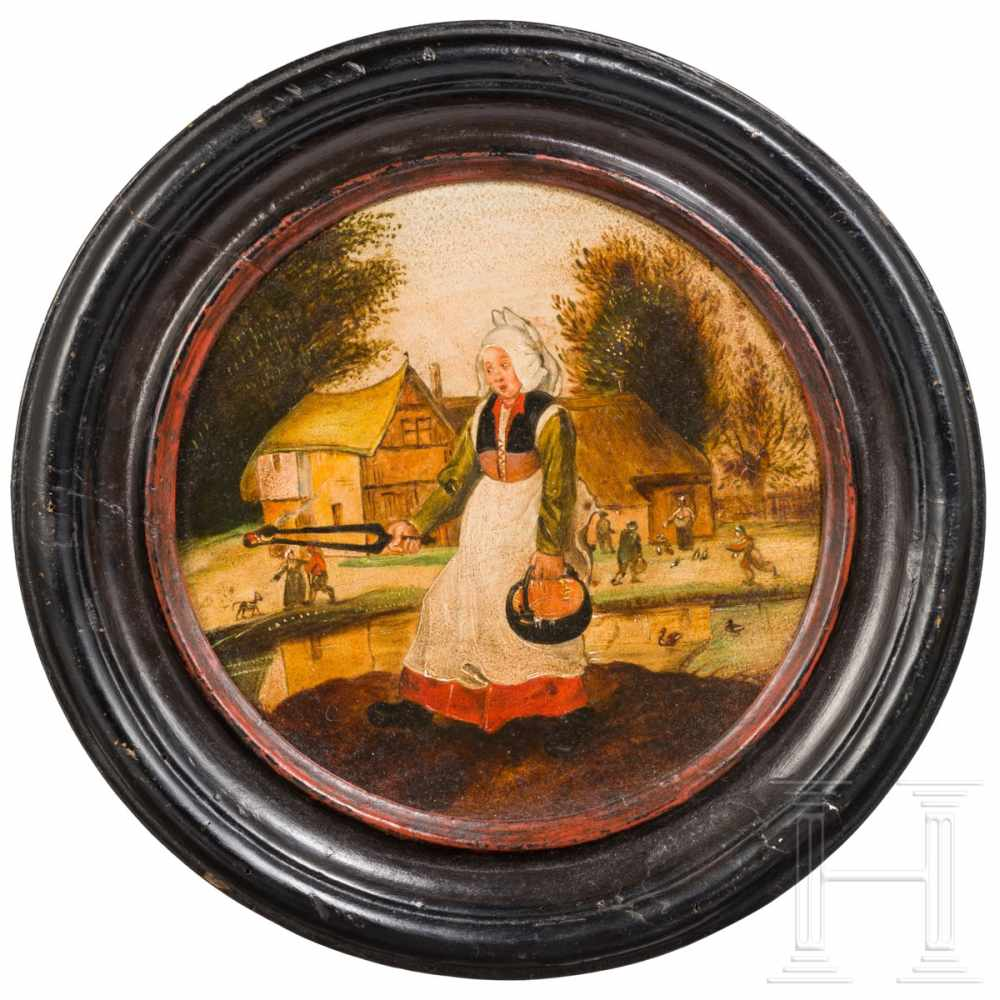 Lot 9 - An Flemish old master genre-painting with a peasant scene, 17th centuryGerahmt. Öl auf Holz. Die