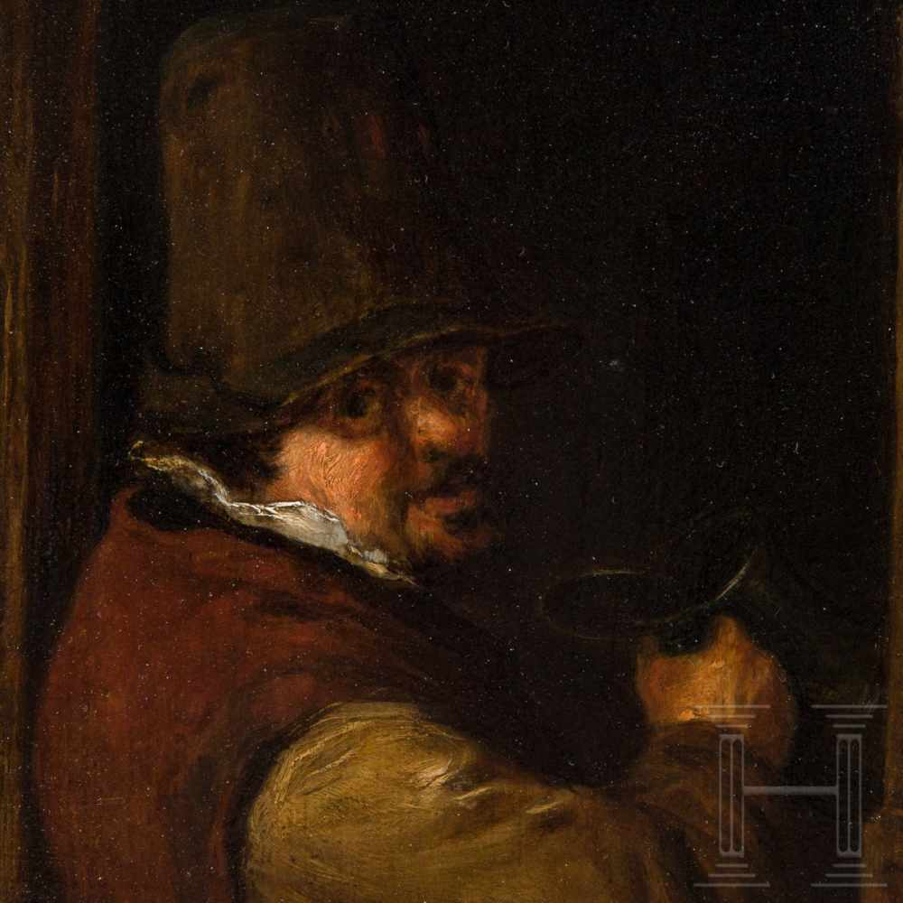 Lot 6 - A small Dutch Old Master painting, 17th centuryOil on wood. Portrait of a man in national costume,