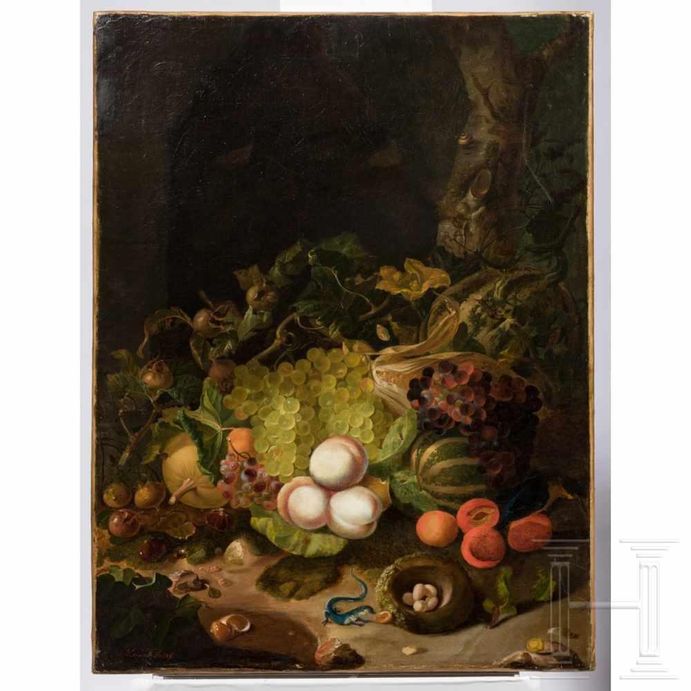 Lot 48 - Josef Lauer (1818 – 1881), Vienna, a fruit still lifeÖl auf Leinwand, doubliert. Hochformatiges