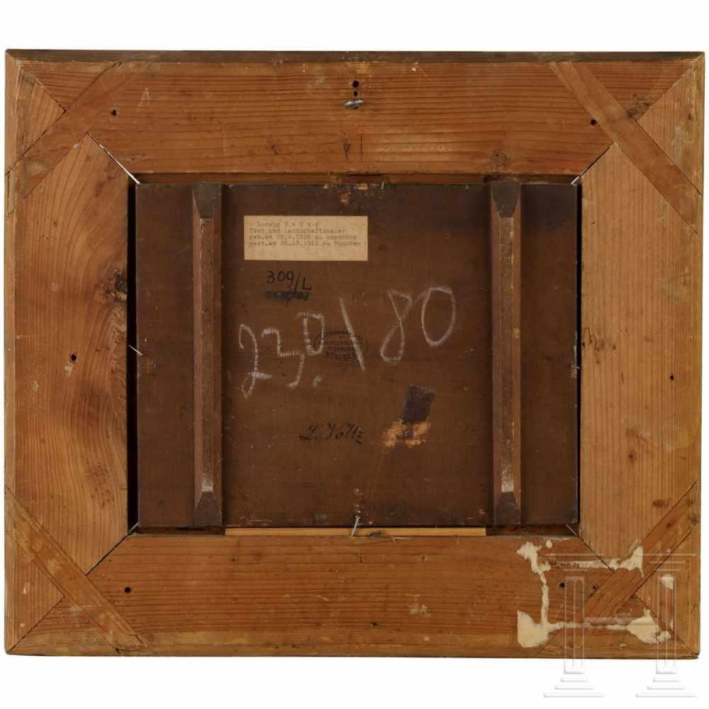 """Lot 51 - Ludwig Gustav Volz, Augsburg/Munich (1825-1911), """"A Dachshund with dead fox"""".Öl auf Holz."""