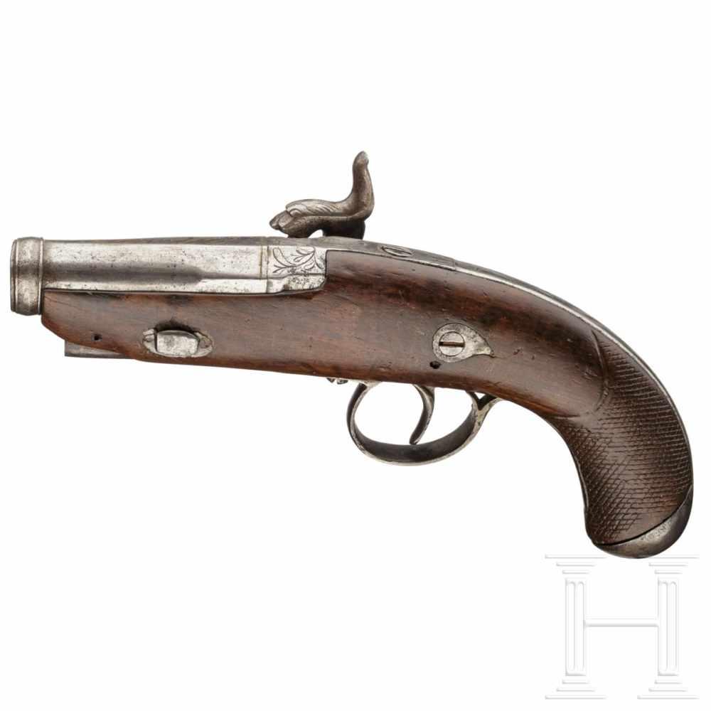 Lot 2052 - A percussion pistol similar to a Deringer, Eibar, dated 1849Glatter Lauf im Kaliber 15 mm mit