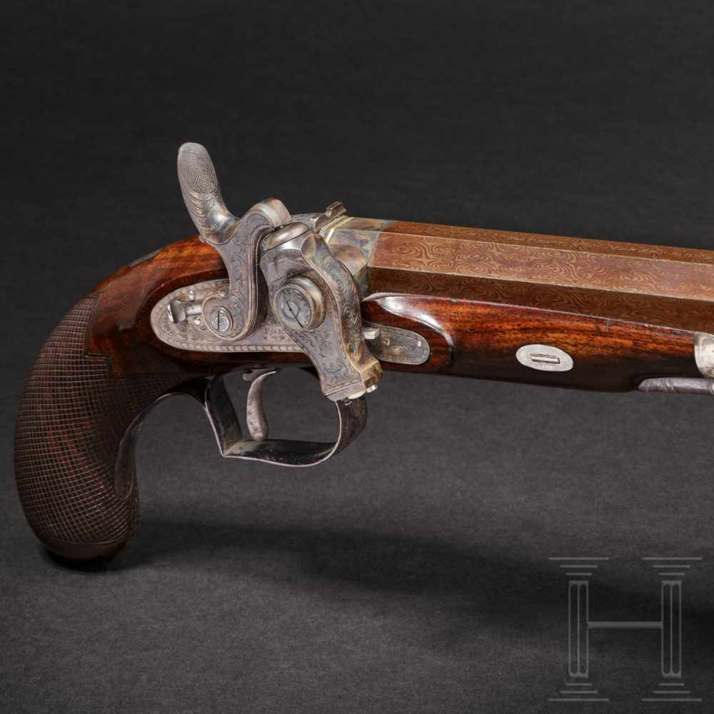 Lot 2048 - A pistol with a Forsyth firing system, Forsyth & Co, London, circa 1820Octagonal, blued Damascus