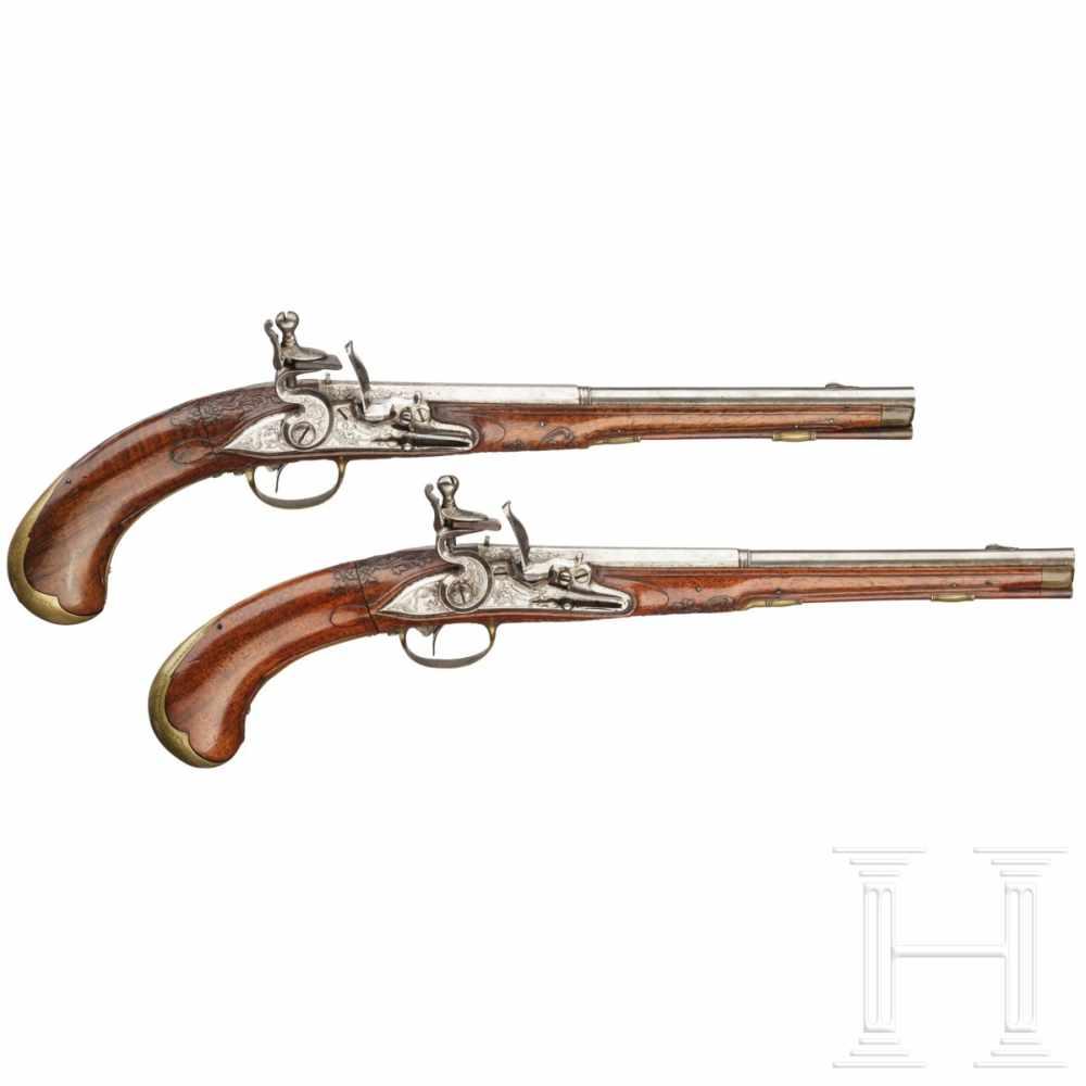 Lot 2043 - A rare pair of air pistols, designed to resemble a flintlock, Friedrich Jacob Bosler of Darmstadt,