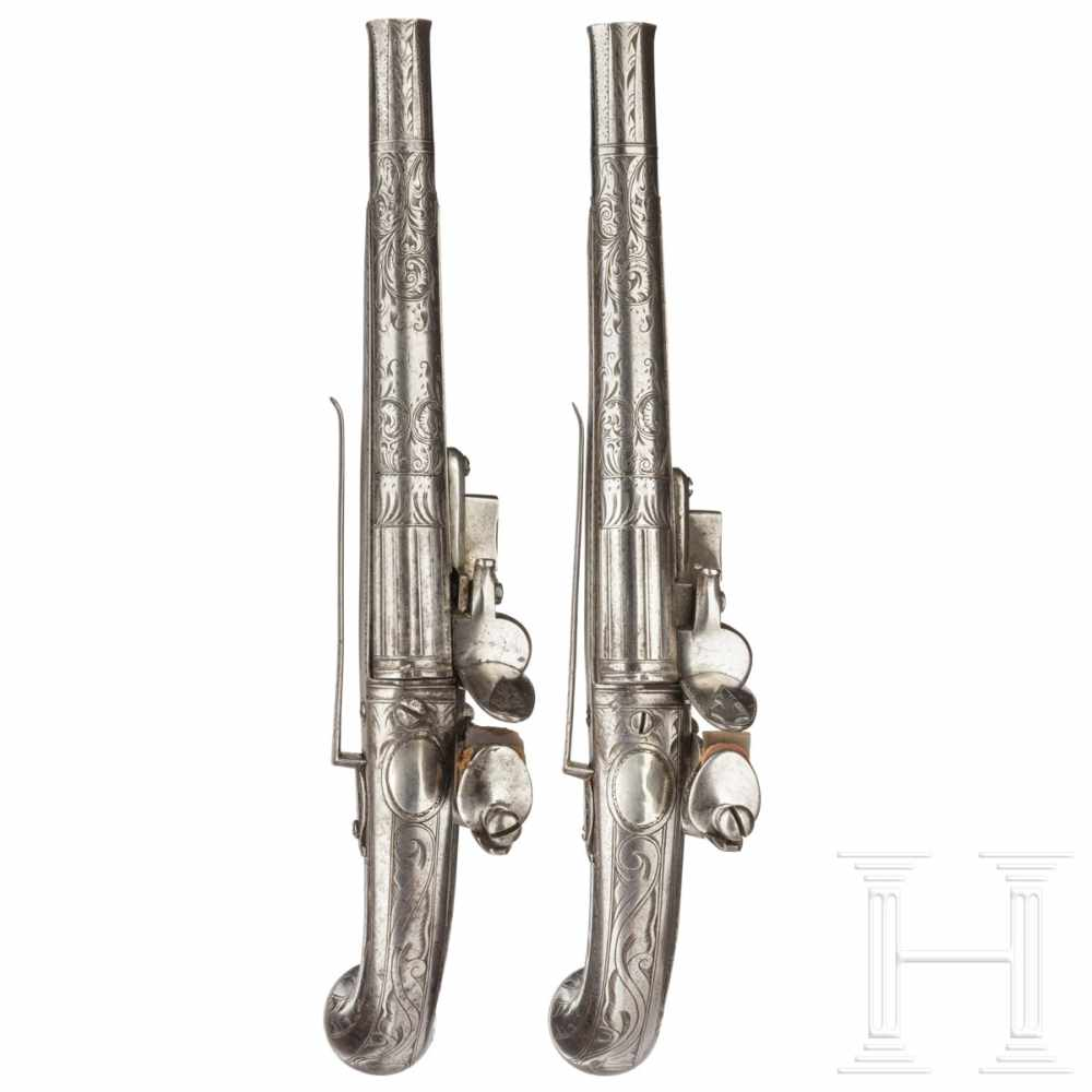 Lot 2034 - A pair of Scottish all-metal flintlock pistols, Thomas Murdoch, circa 1750The round barrels