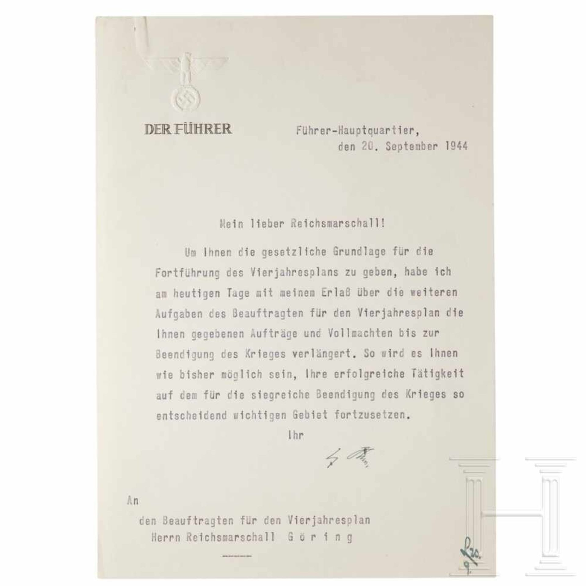 Los 6026 - A letter from Hitler announcing Göring's appointment as head of the third Four Year Plan, dated 20
