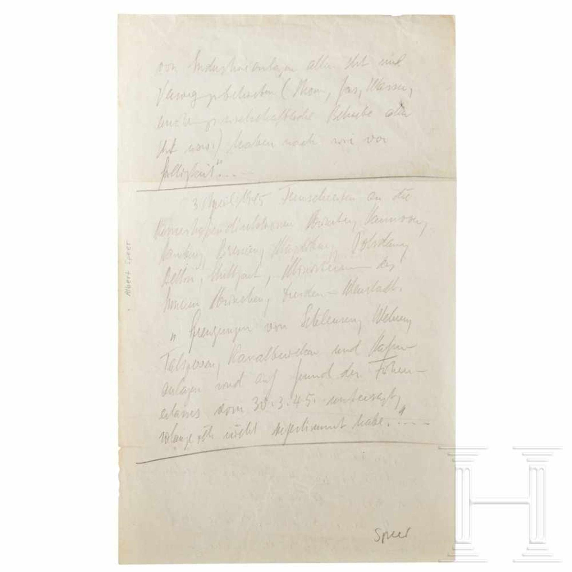 """Los 6009 - Albert Speer - Auflistung seiner Gegenmaßnahmen gegen Hitlers """"Nero-Befehl"""" (19.3.1945) im"""