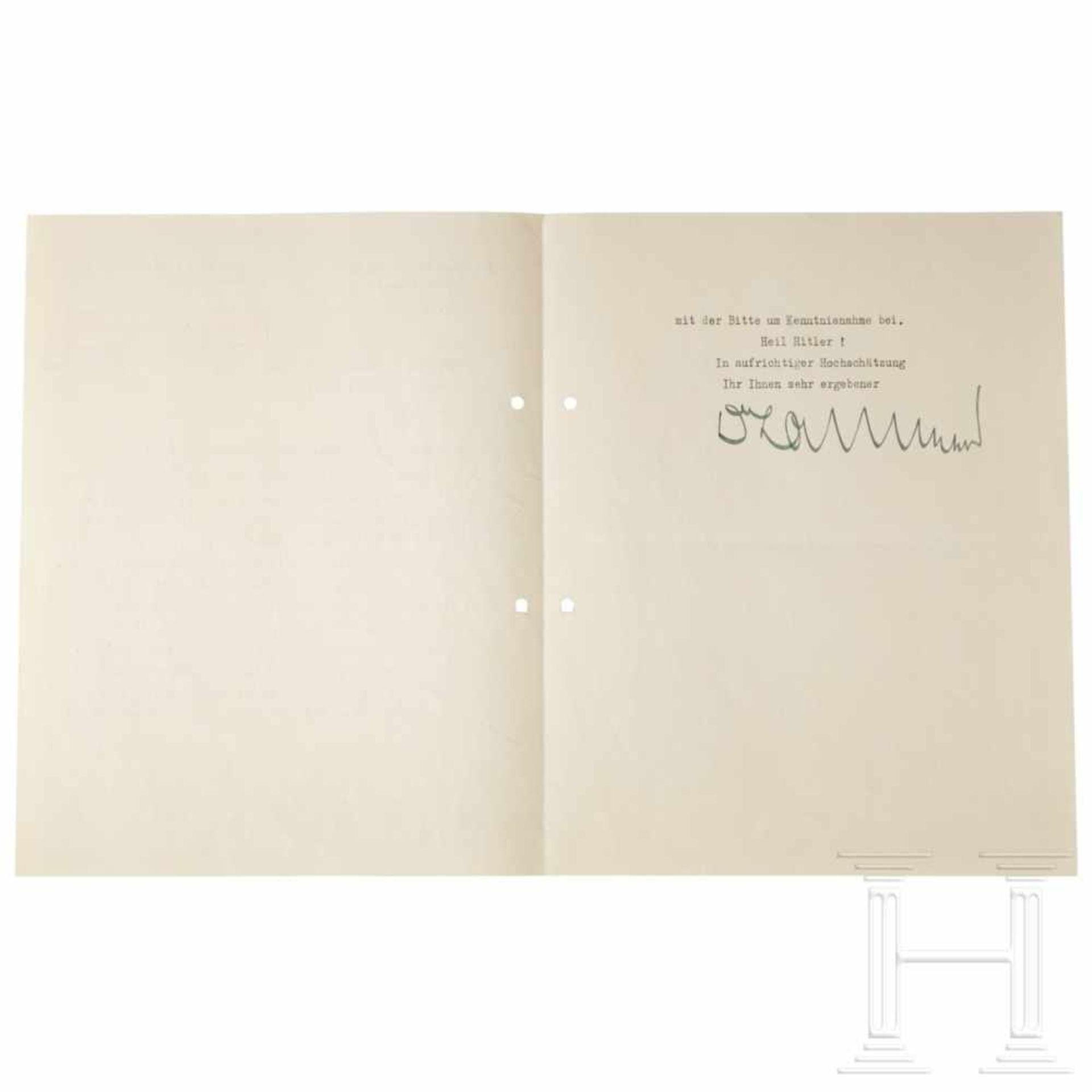 """Los 6030 - Übersendungsschreiben Hans Heinrich Lammers für die Beauftragung Görings zu """"Maßnahmen auf dem"""