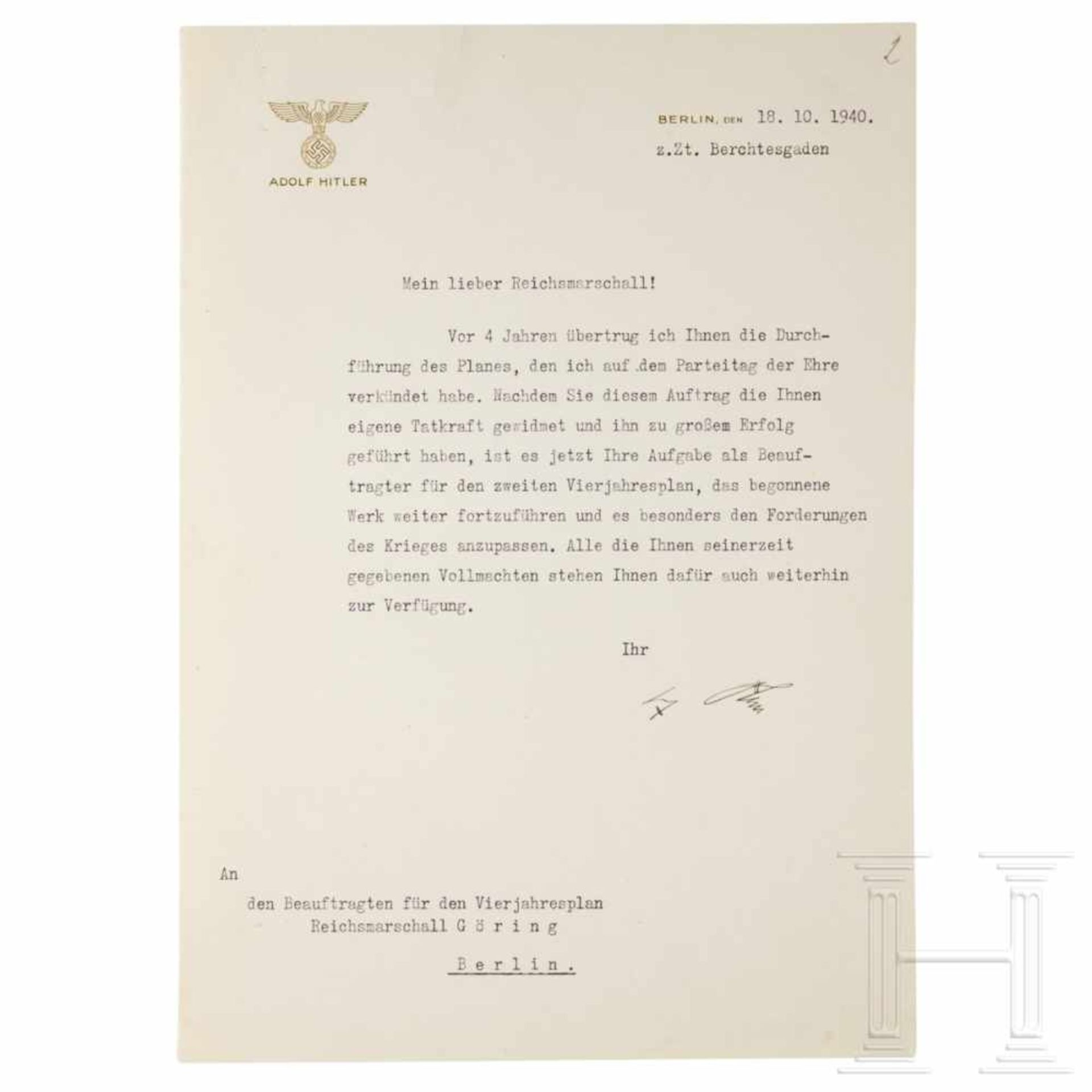 Los 6025 - A letter from Hitler announcing Göring's appointment as head of the second Four Year Plan, dated