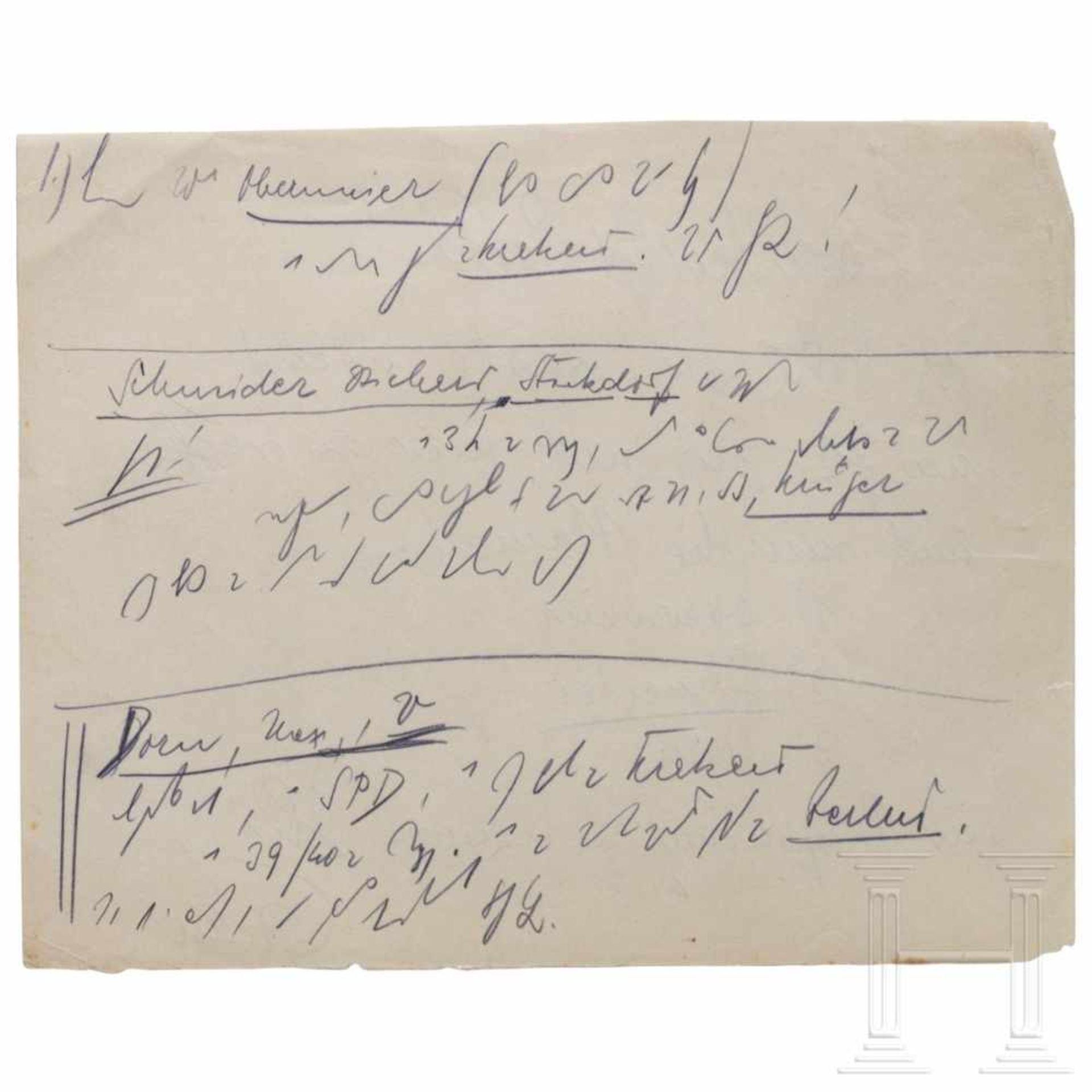Los 6005 - Hans Frank - drei handschriftliche Notizen an seinen Anwalt Alfred Seidl aus dem Nürnberger
