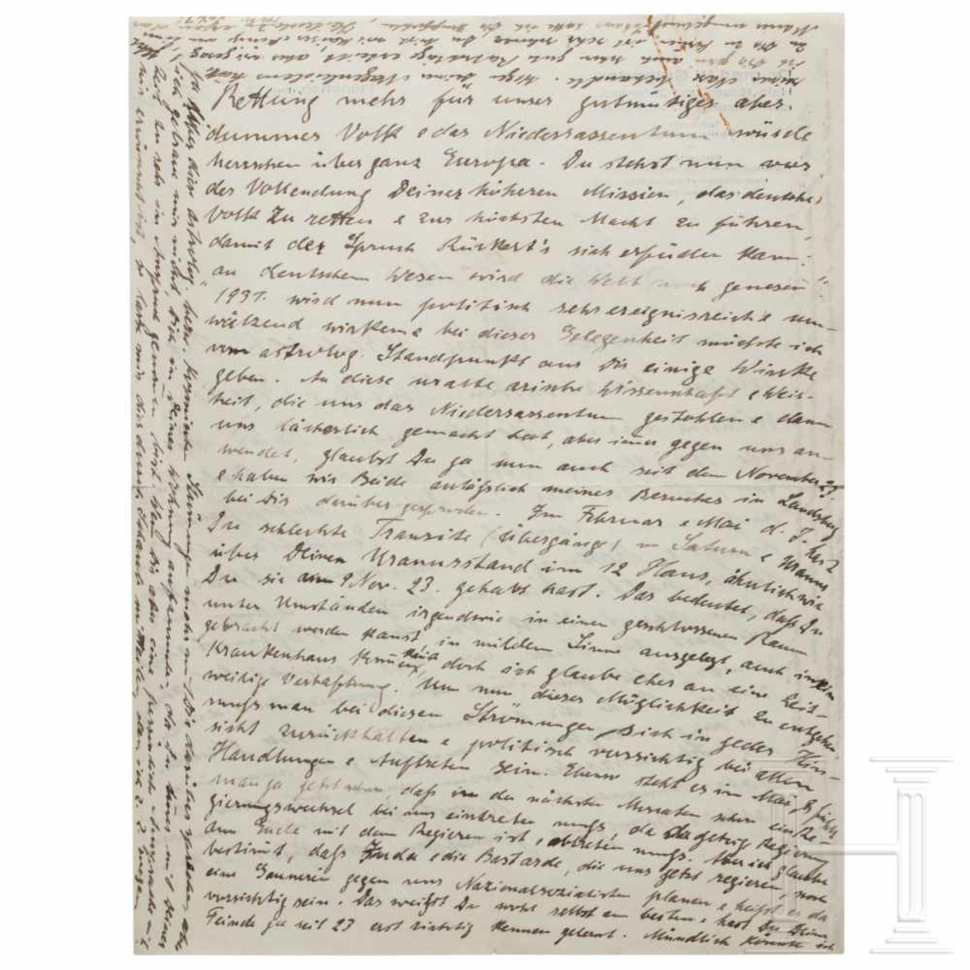 Los 6019 - Dr. Wilhelm Gutberlet (1870 - 1933) - a New-Years letter to Hitler, dated December 31, 1930An