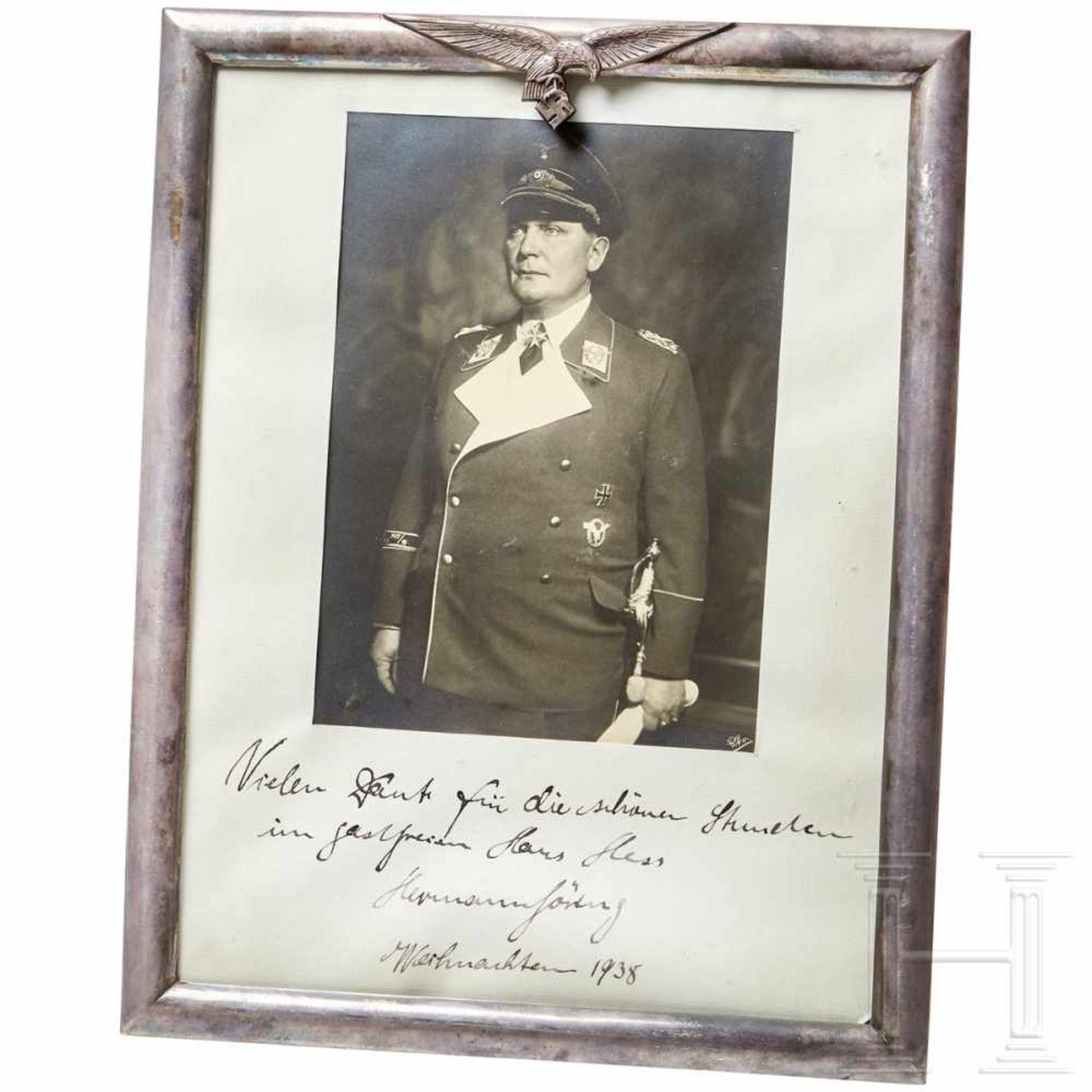 Los 6021 - Hermann Göring - a silver gift frame to Rudolf HessLarge-size portrait photo of Göring in uniform of