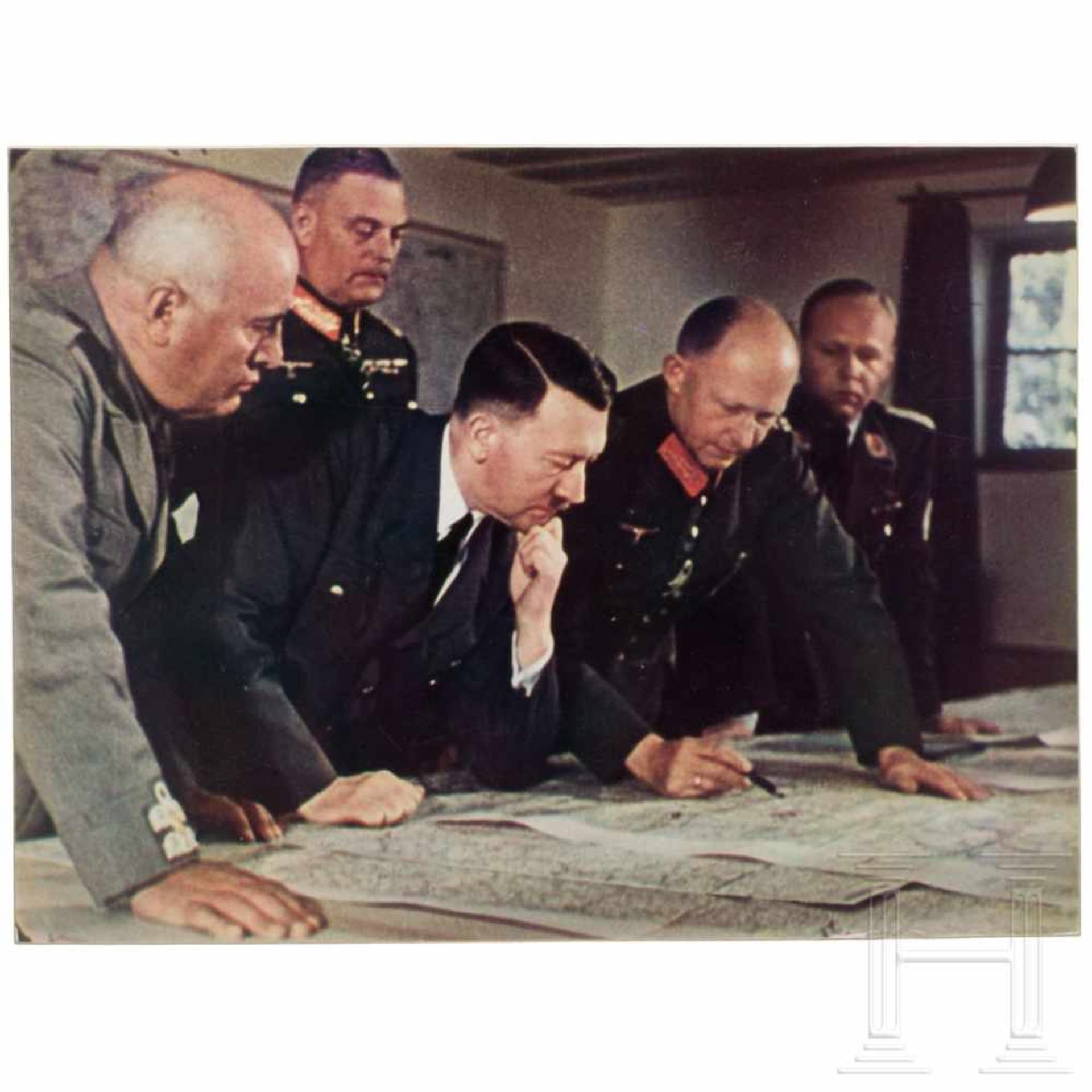 Los 6018 - Walter Frentz (1907 - 2004) - Farbfoto aus dem Führerhauptquartier 1942Mussolini, Keitel, Hitler,