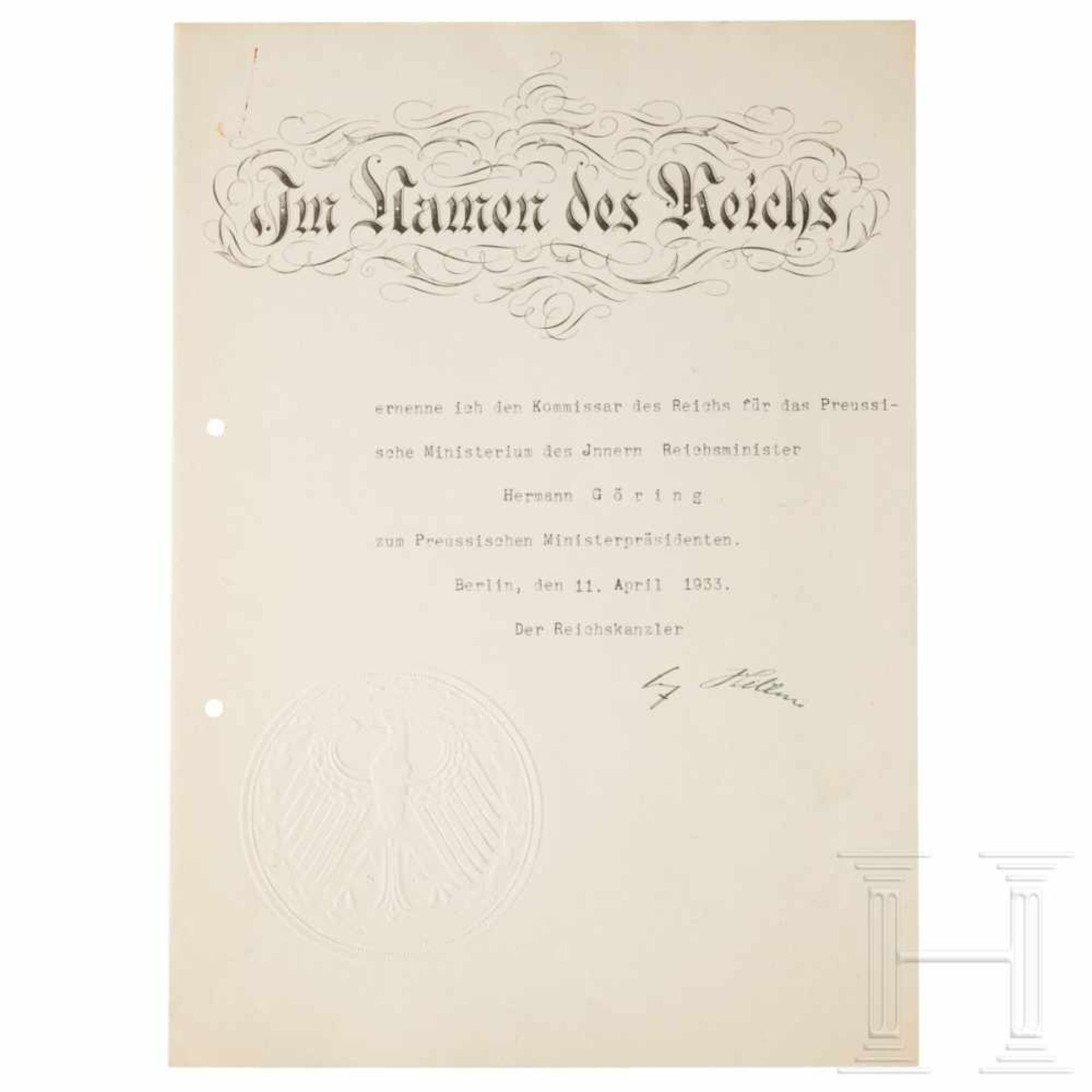 Los 6023 - Göring's certificate of appointment to prime minister of Prussia, dated 11 April 1933The double