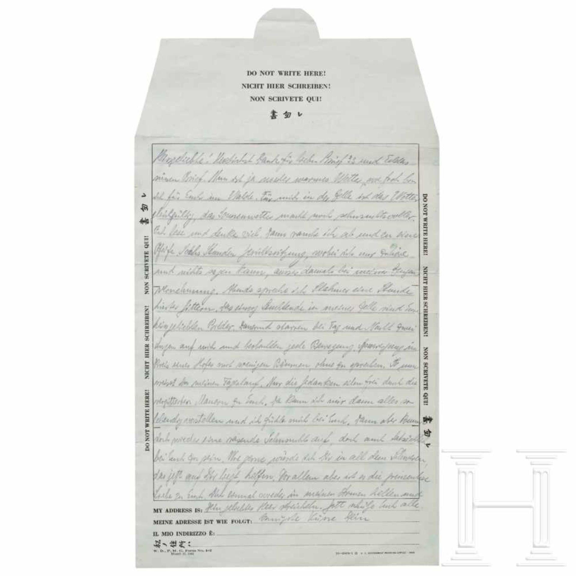 Los 6006 - Hermann Göring - eigenhändiger Brief an seine Frau Emmy aus Nürnberg, Frühjahr 1946Hellgrüner POW-