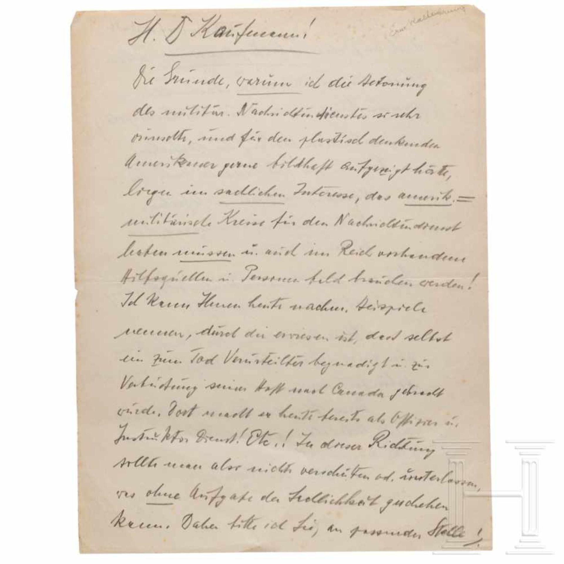 Los 6007 - Ernst Kaltenbrunner - ausführliche Notiz an seinen Verteidiger Kurt Kaufmann aus dem Nürnberger