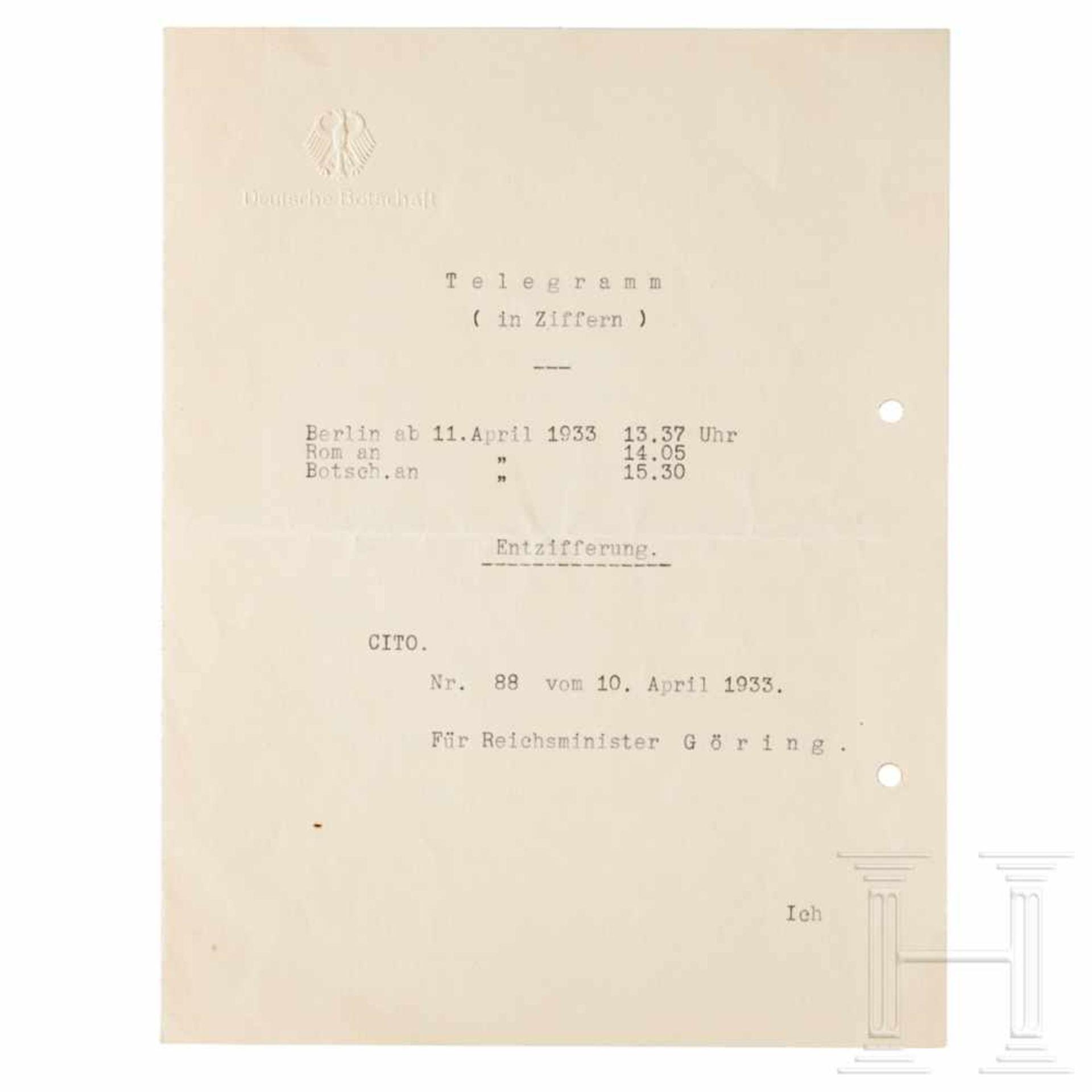 Los 6029 - Benachrichtigungstelegramm Hitlers über Görings Ernennung zum Preußischen Ministerpräsident vom