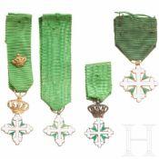 Italien - Orden der heiligen Mauritius und Lazarus - vier kleine Ordenskreuze, 20. Jhdt.