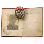 Orden des Roten Arbeitsbanners, komplett mit Ordensbuch, Sowjetunion, datiert 1942