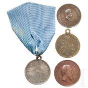 Silberne Medaille für den Vaterländischen Krieg 1812 sowie drei weitere Medaillen, Russland,