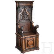 Italienischer Renaissancestuhl mit reichem Marketeriedekor, 15./19. Jhdt.Schwer gearbeiteter Stuhl